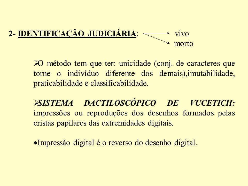 2- IDENTIFICAÇÃO JUDICIÁRIA: vivo morto O método tem que ter: unicidade (conj.