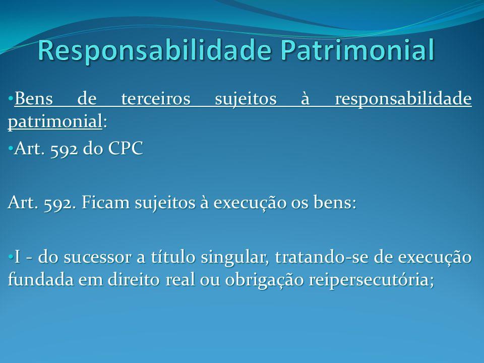 Bens de terceiros sujeitos à responsabilidade patrimonial: Bens de terceiros sujeitos à responsabilidade patrimonial: II - do sócio, nos termos da lei; II - do sócio, nos termos da lei; Art.