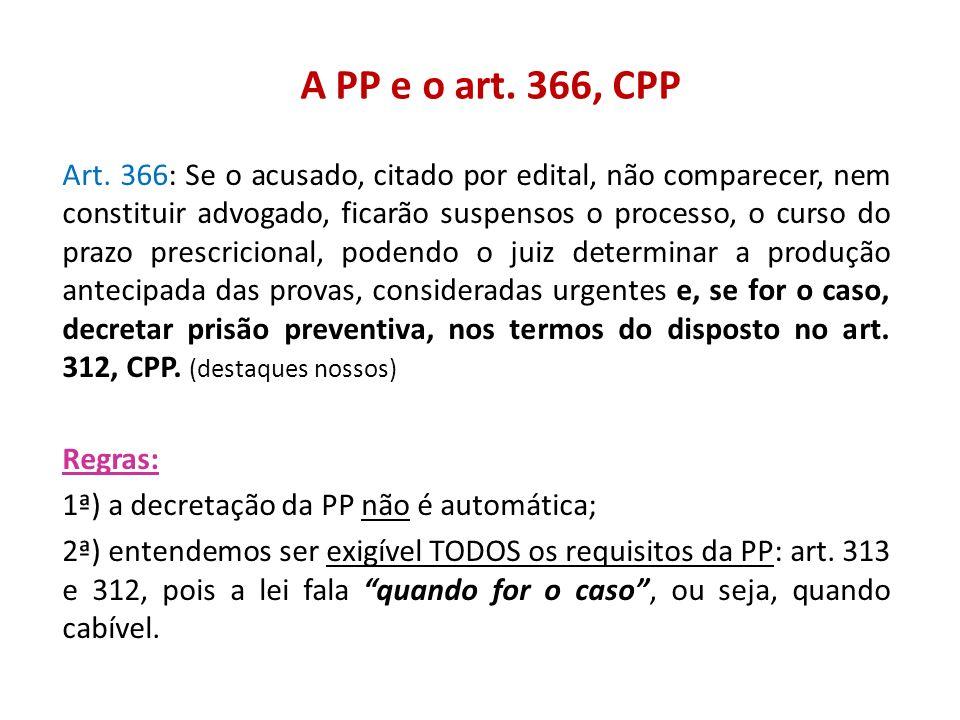 A PP e o art. 366, CPP Art. 366: Se o acusado, citado por edital, não comparecer, nem constituir advogado, ficarão suspensos o processo, o curso do pr