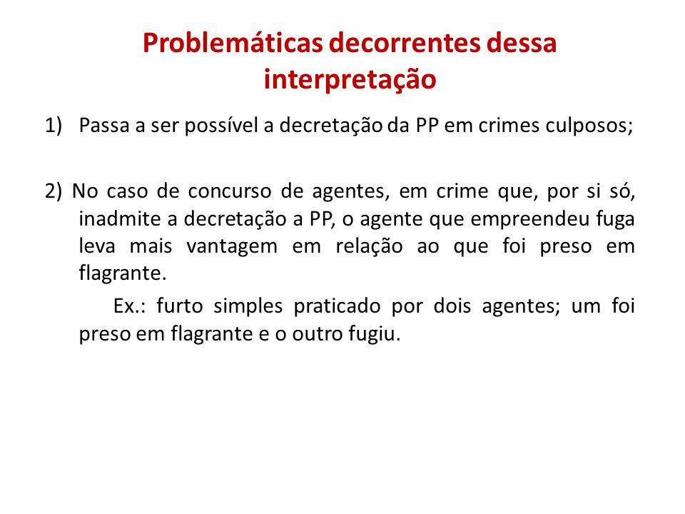 Problemáticas decorrentes dessa interpretação 1)Passa a ser possível a decretação da PP em crimes culposos; 2) No caso de concurso de agentes, em crim