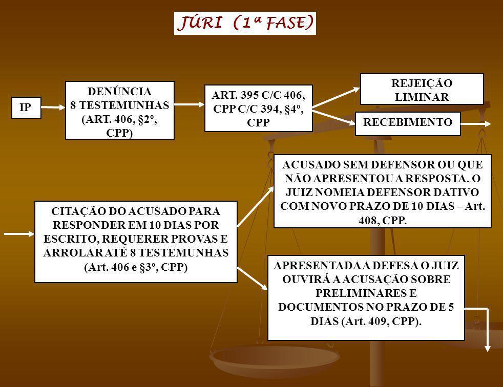 JÚRI (1ª FASE) IP DENÚNCIA 8 TESTEMUNHAS (ART. 406, §2º, CPP) ART. 395 C/C 406, CPP C/C 394, §4º, CPP REJEIÇÃO LIMINAR RECEBIMENTO CITAÇÃO DO ACUSADO