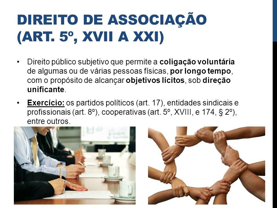 DIREITO DE ASSOCIAÇÃO (ART. 5º, XVII A XXI) Direito público subjetivo que permite a coligação voluntária de algumas ou de várias pessoas físicas, por