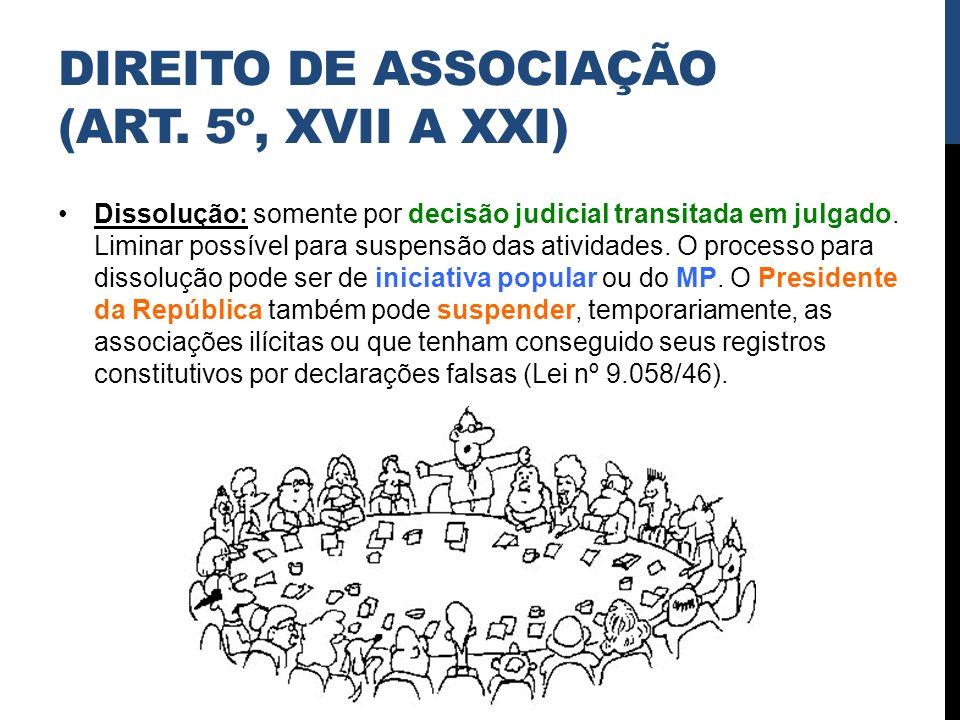 DIREITO DE ASSOCIAÇÃO (ART. 5º, XVII A XXI) Dissolução: somente por decisão judicial transitada em julgado. Liminar possível para suspensão das ativid