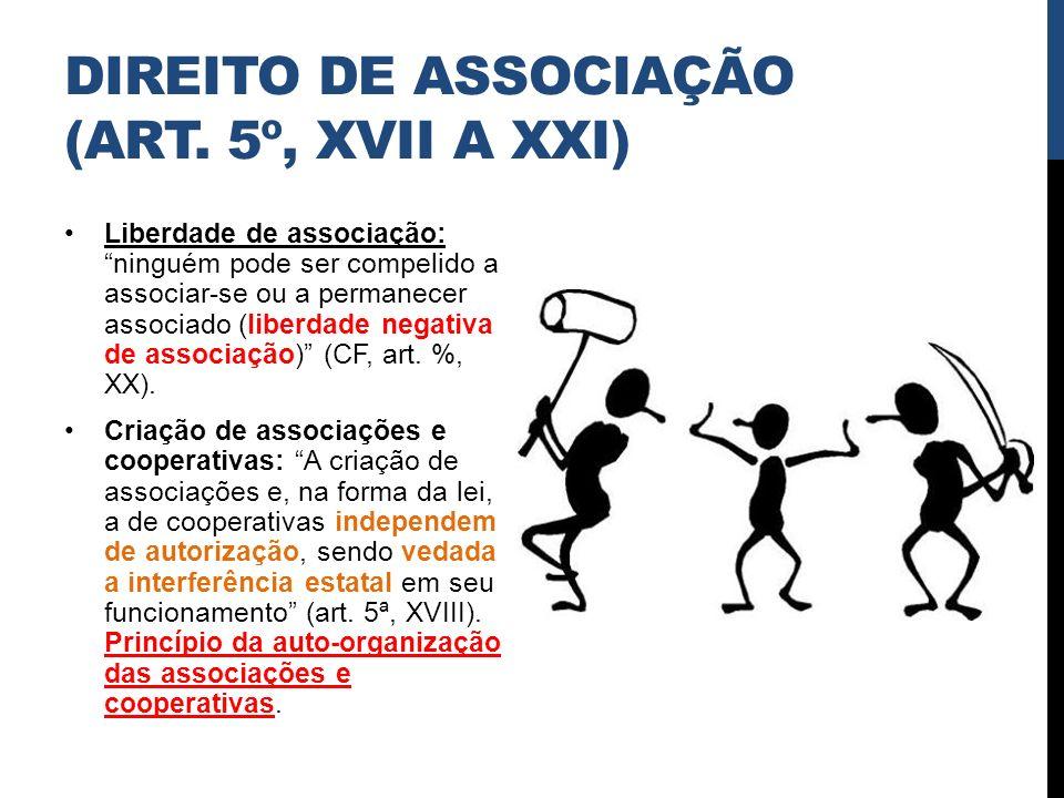DIREITO DE ASSOCIAÇÃO (ART. 5º, XVII A XXI) Liberdade de associação: ninguém pode ser compelido a associar-se ou a permanecer associado (liberdade neg