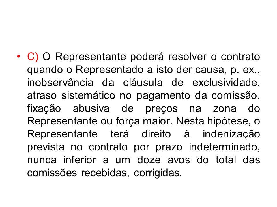 C) O Representante poderá resolver o contrato quando o Representado a isto der causa, p. ex., inobservância da cláusula de exclusividade, atraso siste
