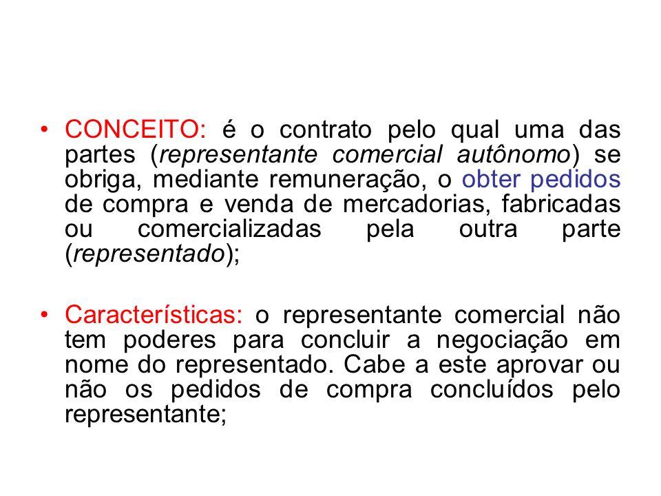 CONCEITO: é o contrato pelo qual uma das partes (representante comercial autônomo) se obriga, mediante remuneração, o obter pedidos de compra e venda