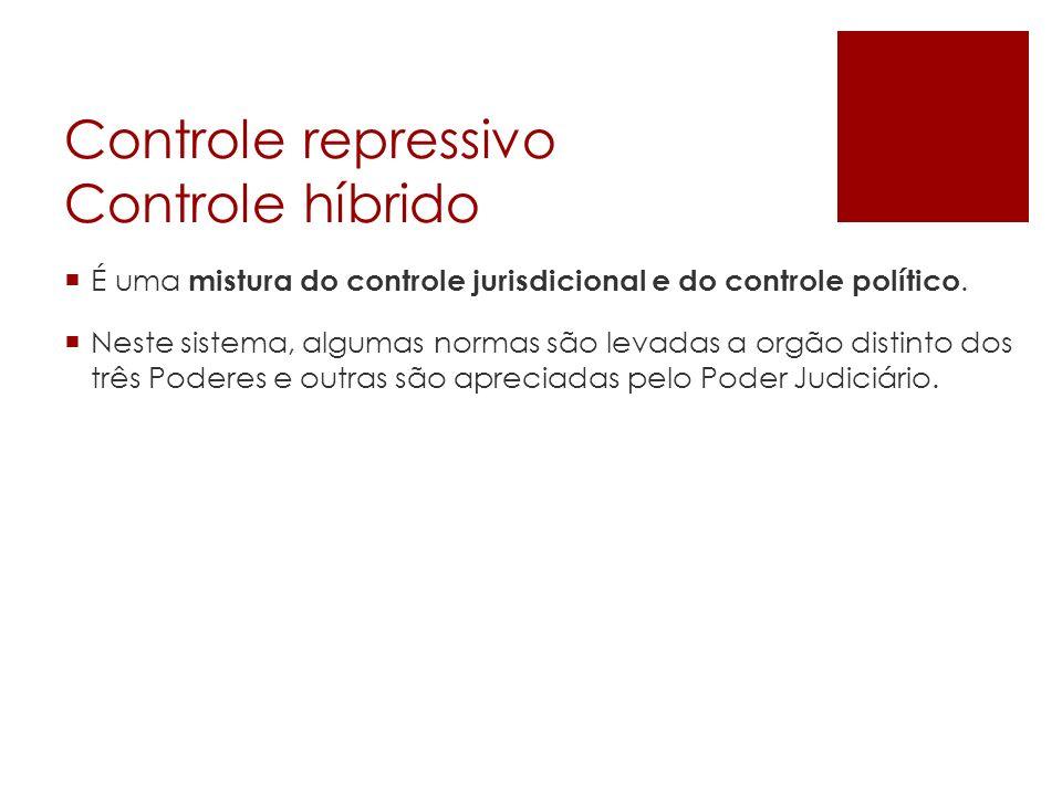 Controle repressivo Controle híbrido É uma mistura do controle jurisdicional e do controle político. Neste sistema, algumas normas são levadas a orgão