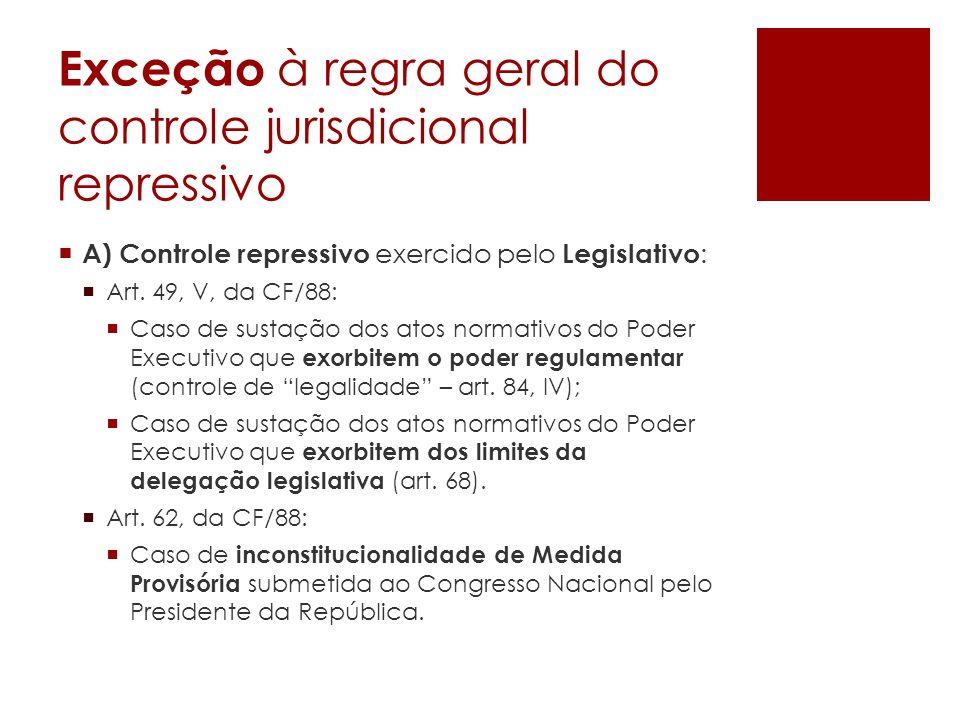 Exceção à regra geral do controle jurisdicional repressivo A) Controle repressivo exercido pelo Legislativo : Art. 49, V, da CF/88: Caso de sustação d