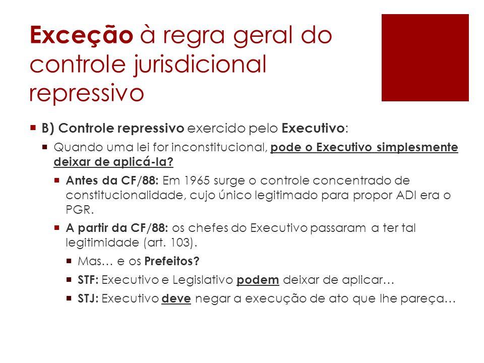 Exceção à regra geral do controle jurisdicional repressivo B) Controle repressivo exercido pelo Executivo : Quando uma lei for inconstitucional, pode