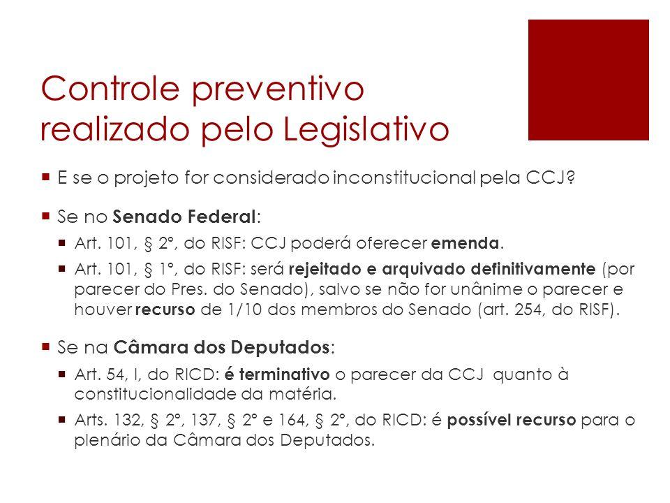 Controle preventivo realizado pelo Legislativo E se o projeto for considerado inconstitucional pela CCJ? Se no Senado Federal : Art. 101, § 2º, do RIS