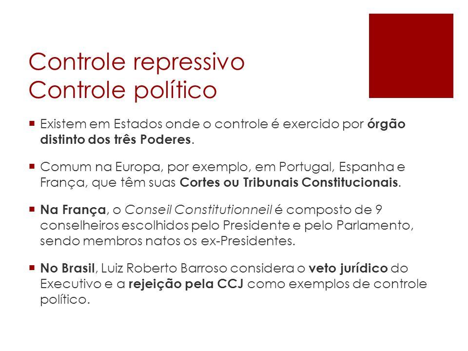 Controle repressivo Controle político Existem em Estados onde o controle é exercido por órgão distinto dos três Poderes. Comum na Europa, por exemplo,