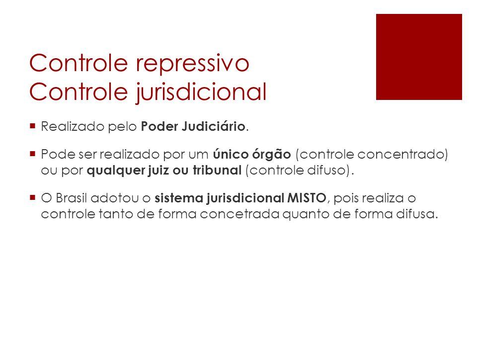 Controle repressivo Controle jurisdicional Realizado pelo Poder Judiciário. Pode ser realizado por um único órgão (controle concentrado) ou por qualqu