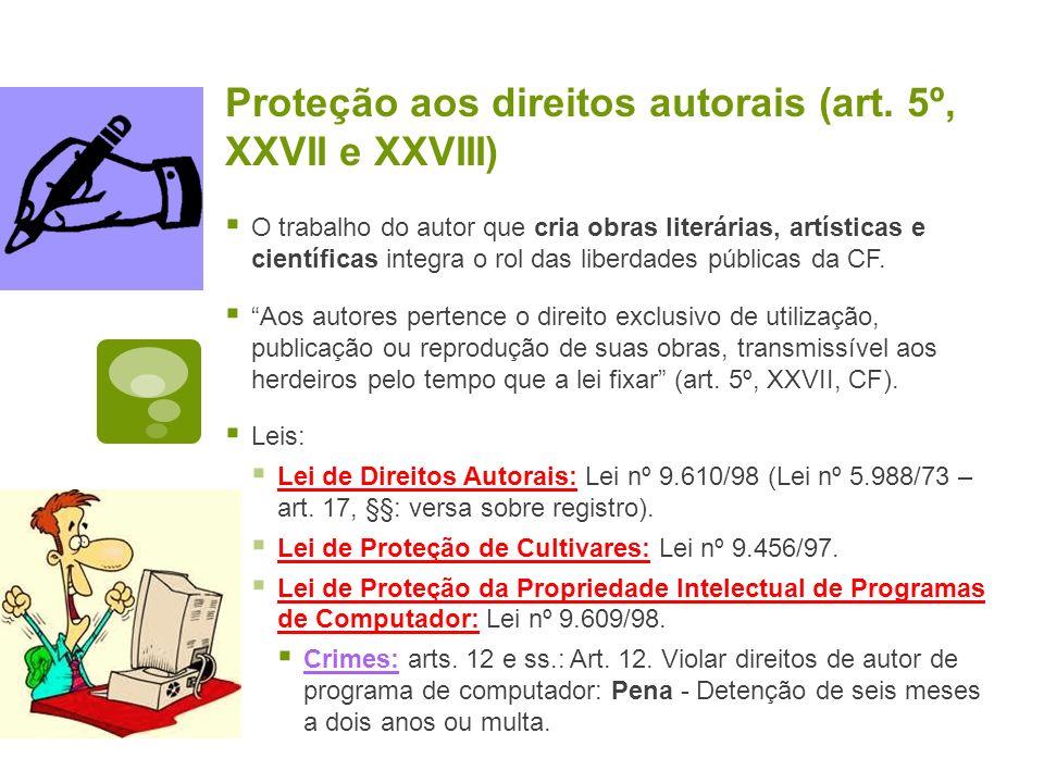 Proteção aos direitos autorais (art. 5º, XXVII e XXVIII) O trabalho do autor que cria obras literárias, artísticas e científicas integra o rol das lib