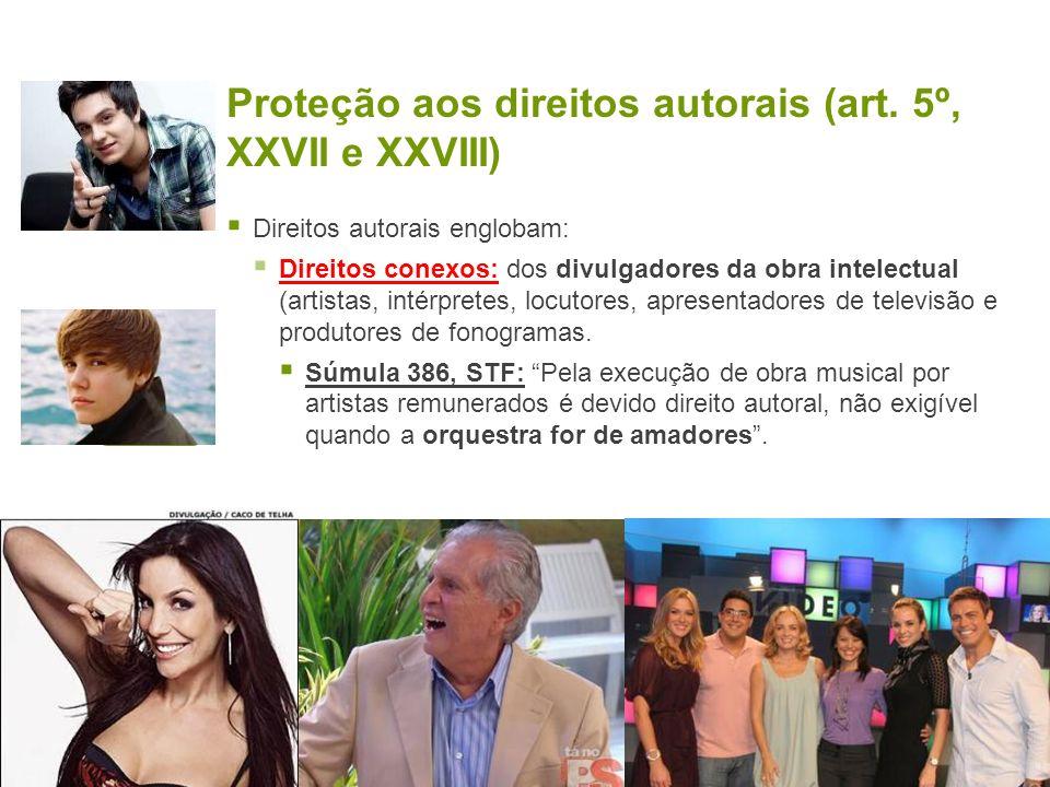 Proteção aos direitos autorais (art. 5º, XXVII e XXVIII) Direitos autorais englobam: Direitos conexos: dos divulgadores da obra intelectual (artistas,