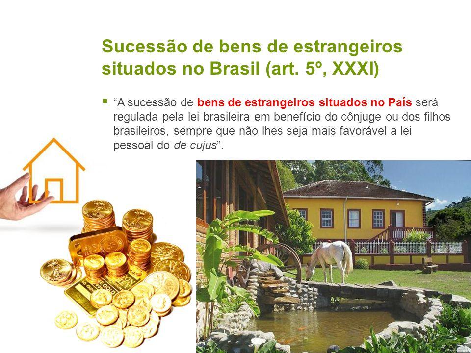 Sucessão de bens de estrangeiros situados no Brasil (art. 5º, XXXI) A sucessão de bens de estrangeiros situados no País será regulada pela lei brasile