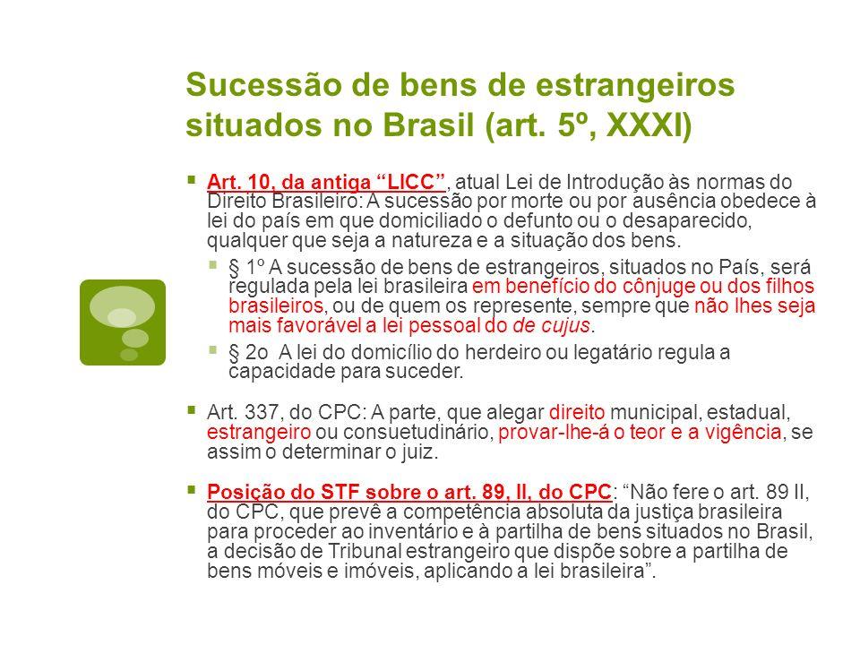 Sucessão de bens de estrangeiros situados no Brasil (art. 5º, XXXI) Art. 10, da antiga LICC, atual Lei de Introdução às normas do Direito Brasileiro:
