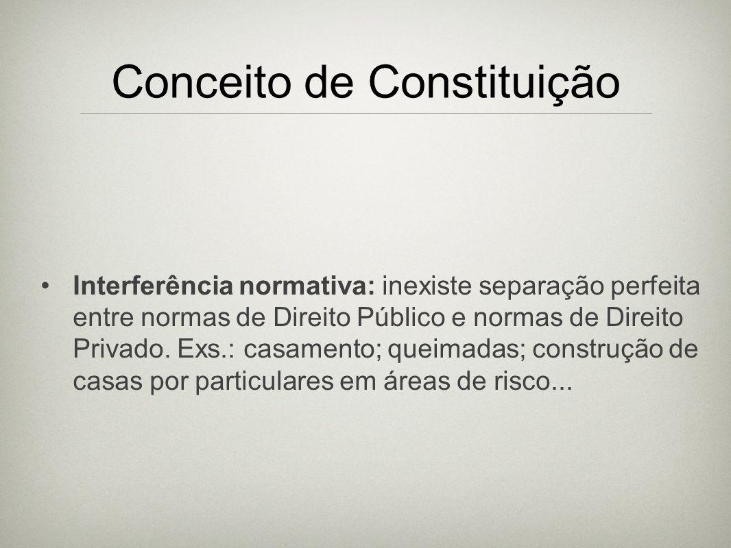 Conceito de Constituição Interferência normativa: inexiste separação perfeita entre normas de Direito Público e normas de Direito Privado. Exs.: casam
