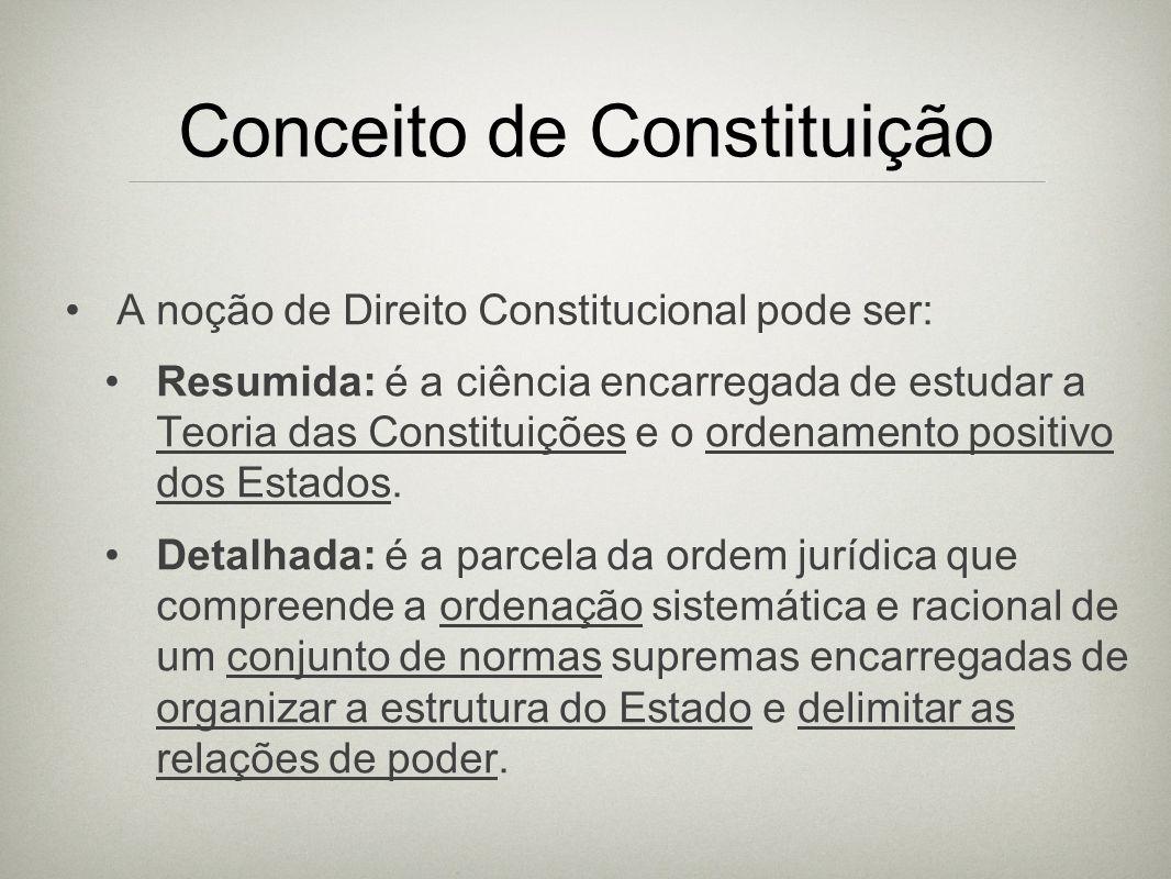 Conceito de Constituição A noção de Direito Constitucional pode ser: Resumida: é a ciência encarregada de estudar a Teoria das Constituições e o orden