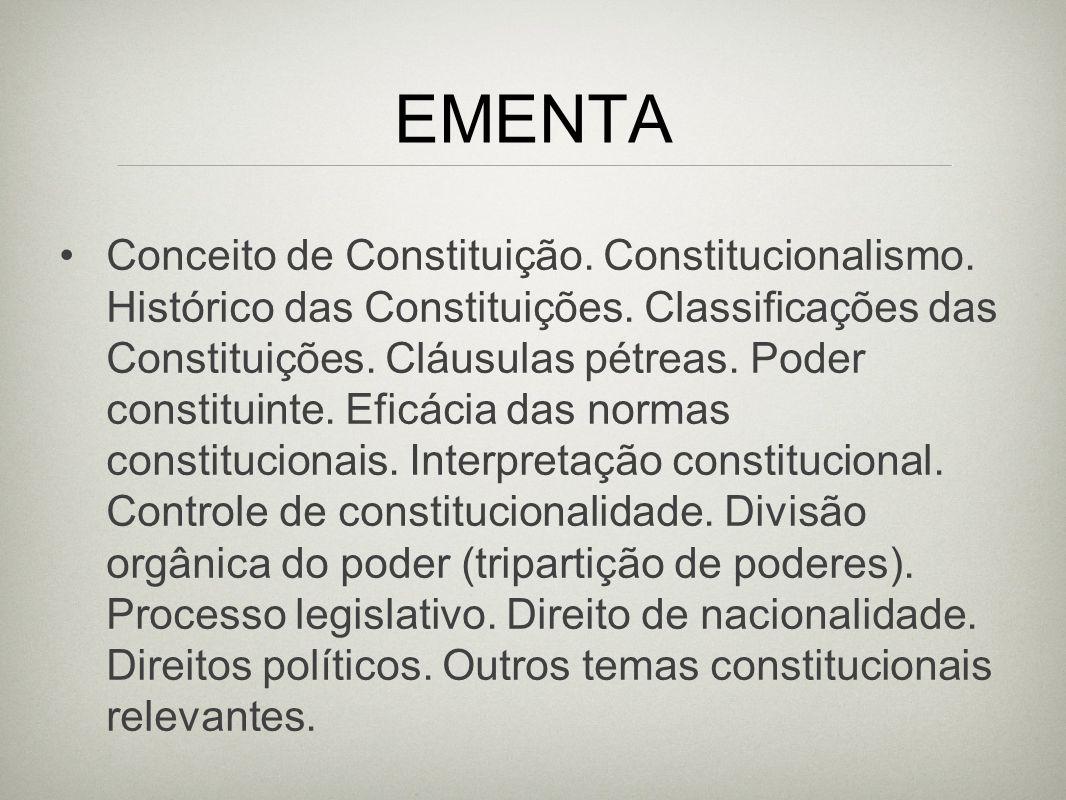 EMENTA Conceito de Constituição. Constitucionalismo. Histórico das Constituições. Classificações das Constituições. Cláusulas pétreas. Poder constitui