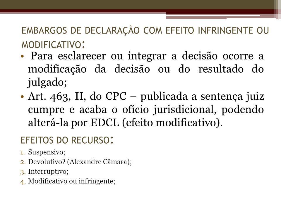 Para esclarecer ou integrar a decisão ocorre a modificação da decisão ou do resultado do julgado; Art. 463, II, do CPC – publicada a sentença juiz cum