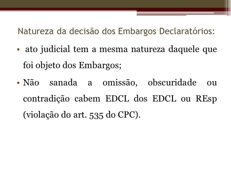 ato judicial tem a mesma natureza daquele que foi objeto dos Embargos; Não sanada a omissão, obscuridade ou contradição cabem EDCL dos EDCL ou REsp (v
