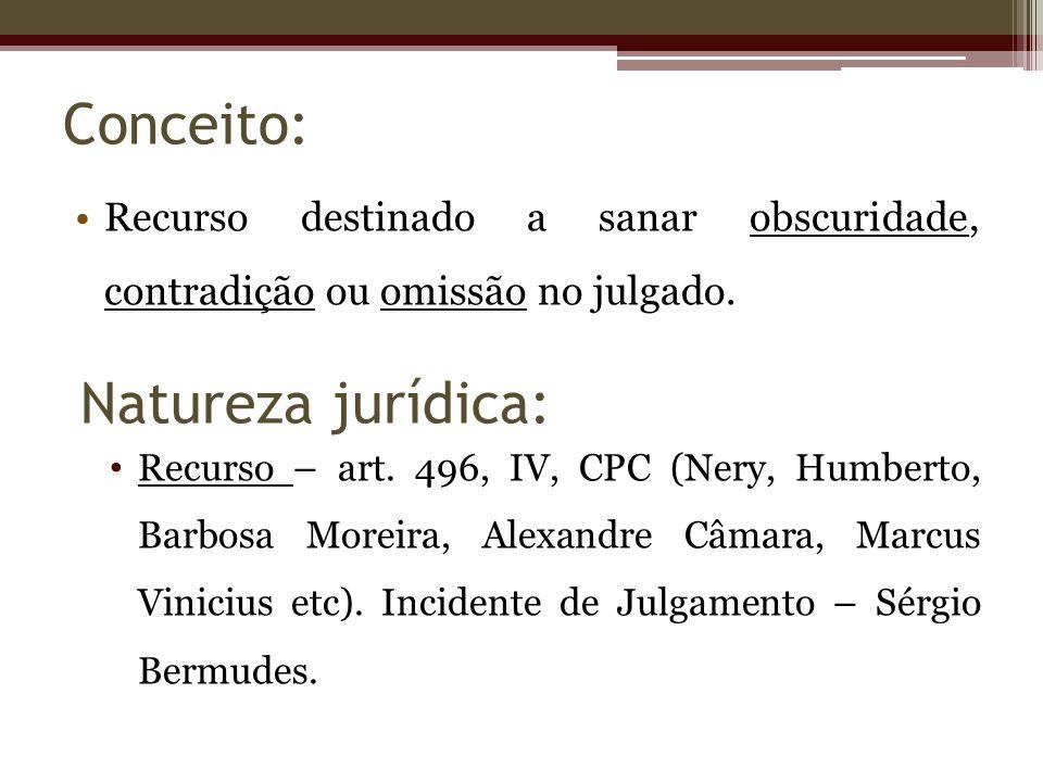 Conceito: Recurso destinado a sanar obscuridade, contradição ou omissão no julgado. Recurso – art. 496, IV, CPC (Nery, Humberto, Barbosa Moreira, Alex