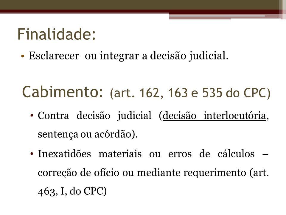 Finalidade: Esclarecer ou integrar a decisão judicial. Contra decisão judicial (decisão interlocutória, sentença ou acórdão). Inexatidões materiais ou