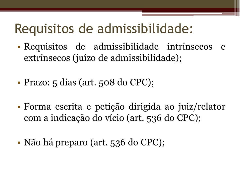 Requisitos de admissibilidade: Requisitos de admissibilidade intrínsecos e extrínsecos (juízo de admissibilidade); Prazo: 5 dias (art. 508 do CPC); Fo