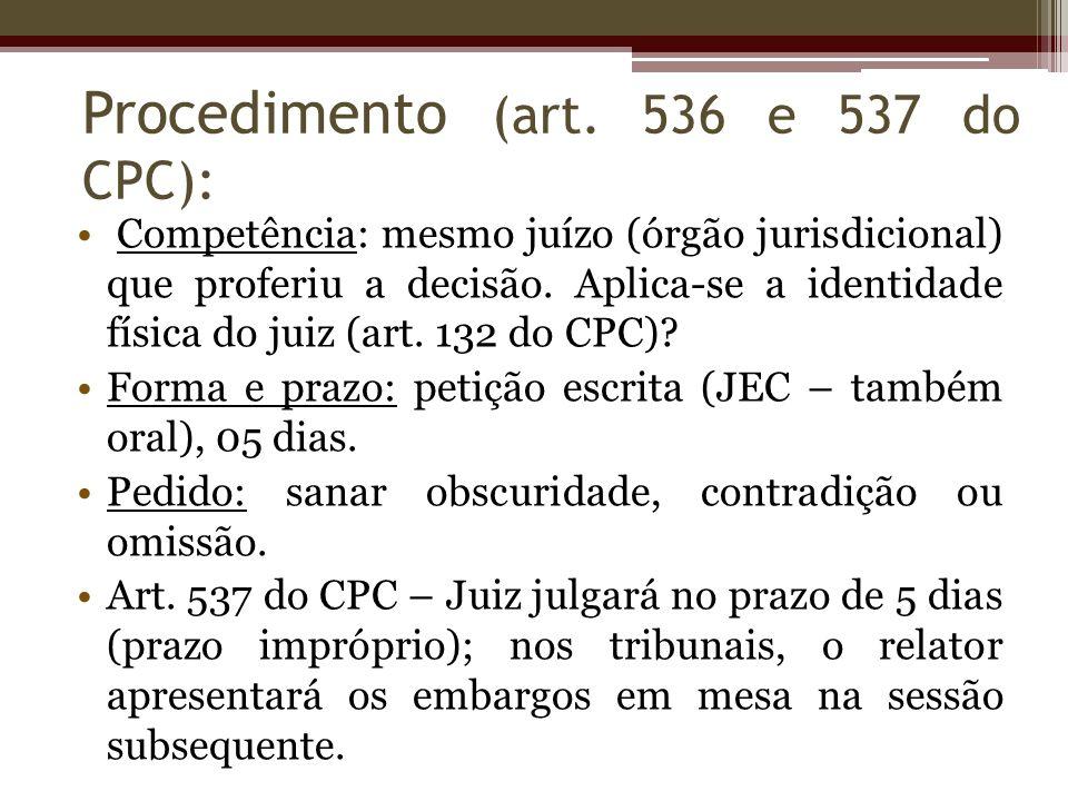 Competência: mesmo juízo (órgão jurisdicional) que proferiu a decisão. Aplica-se a identidade física do juiz (art. 132 do CPC)? Forma e prazo: petição