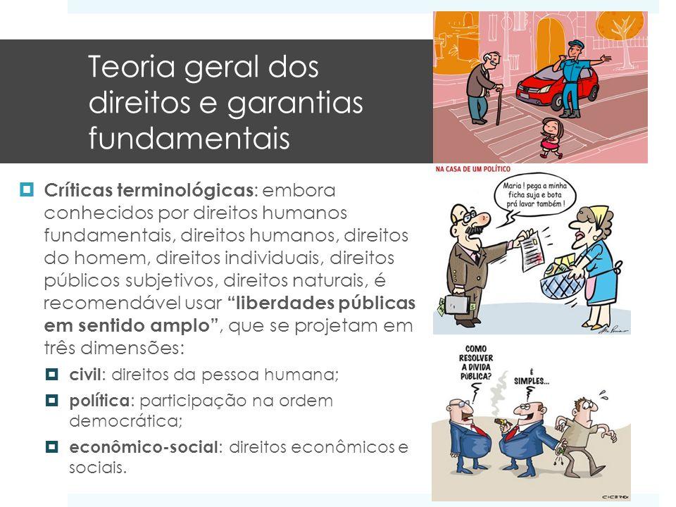 Teoria geral dos direitos e garantias fundamentais Críticas terminológicas : embora conhecidos por direitos humanos fundamentais, direitos humanos, di