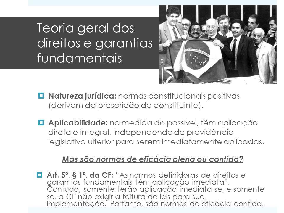 Teoria geral dos direitos e garantias fundamentais Natureza jurídica: normas constitucionais positivas (derivam da prescrição do constituinte). Aplica