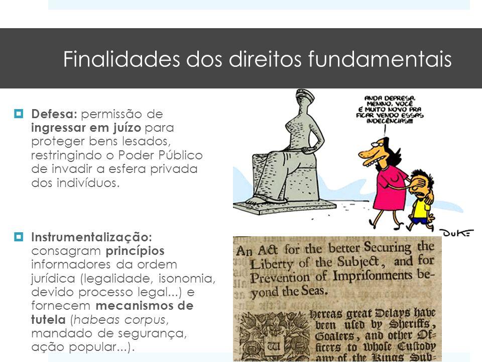 Finalidades dos direitos fundamentais Defesa: permissão de ingressar em juízo para proteger bens lesados, restringindo o Poder Público de invadir a es