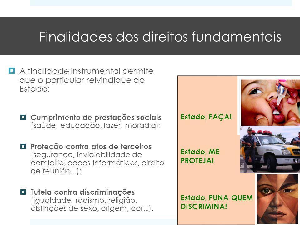 Finalidades dos direitos fundamentais A finalidade instrumental permite que o particular reivindique do Estado: Cumprimento de prestações sociais (saú