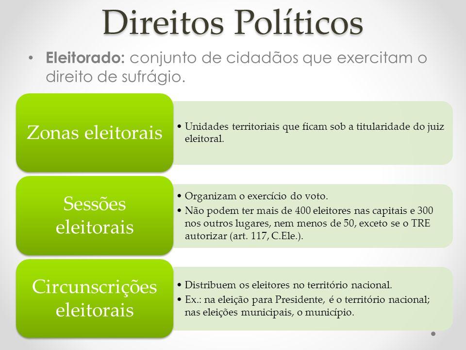 Direitos Políticos Eleitorado: conjunto de cidadãos que exercitam o direito de sufrágio. Unidades territoriais que ficam sob a titularidade do juiz el