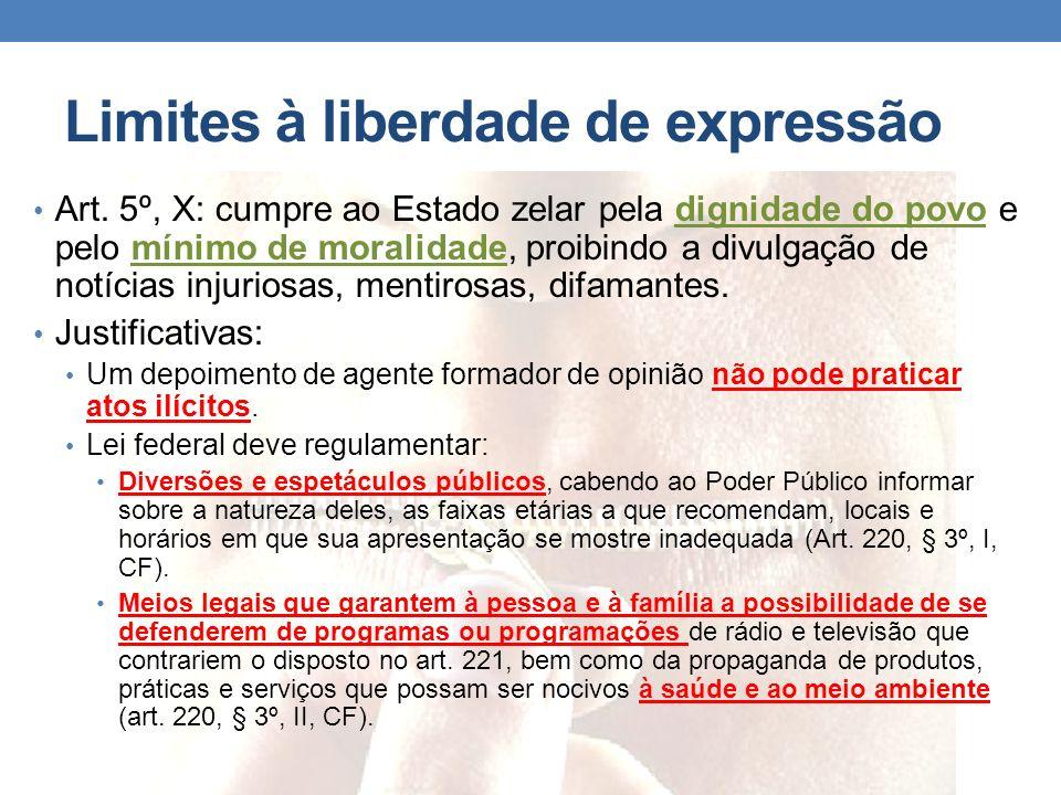 Limites à liberdade de expressão Art. 5º, X: cumpre ao Estado zelar pela dignidade do povo e pelo mínimo de moralidade, proibindo a divulgação de notí