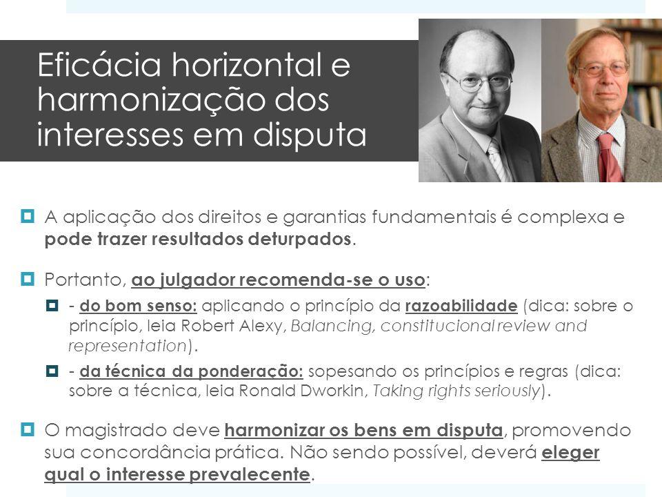 Eficácia horizontal e harmonização dos interesses em disputa A aplicação dos direitos e garantias fundamentais é complexa e pode trazer resultados det