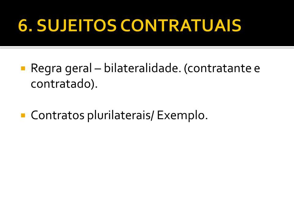 Regra geral – bilateralidade. (contratante e contratado). Contratos plurilaterais/ Exemplo.