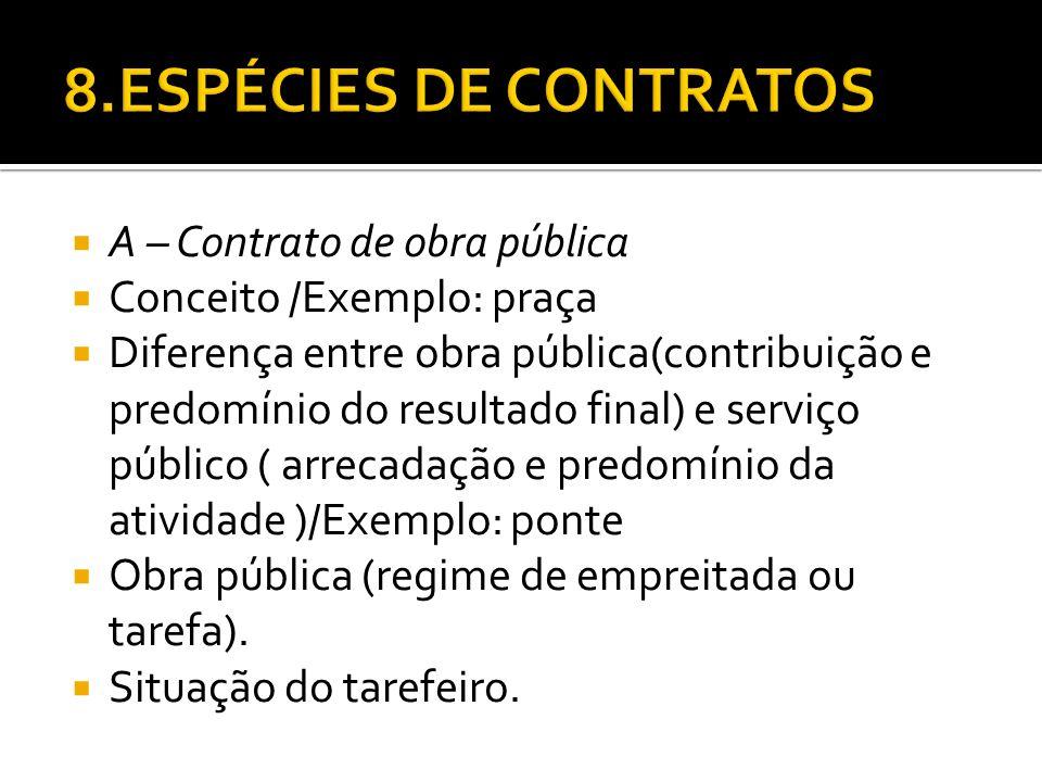 A – Contrato de obra pública Conceito /Exemplo: praça Diferença entre obra pública(contribuição e predomínio do resultado final) e serviço público ( a