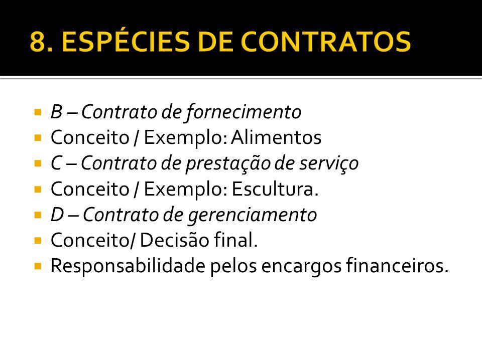 B – Contrato de fornecimento Conceito / Exemplo: Alimentos C – Contrato de prestação de serviço Conceito / Exemplo: Escultura. D – Contrato de gerenci