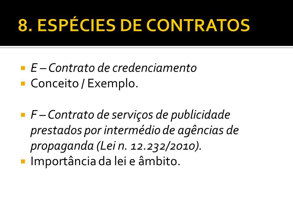 E – Contrato de credenciamento Conceito / Exemplo. F – Contrato de serviços de publicidade prestados por intermédio de agências de propaganda (Lei n.