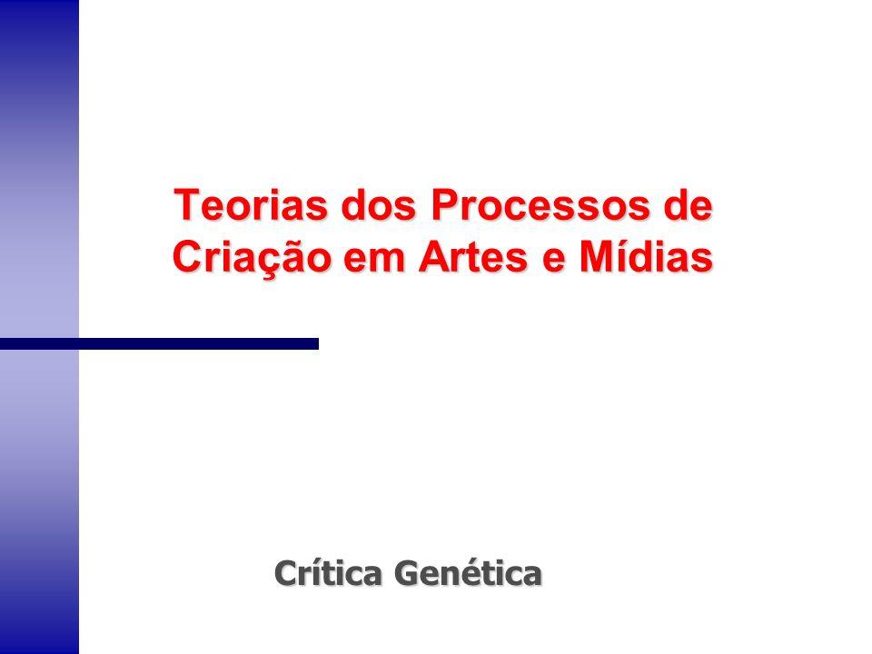 Teorias dos Processos de Criação em Artes e Mídias Crítica Genética