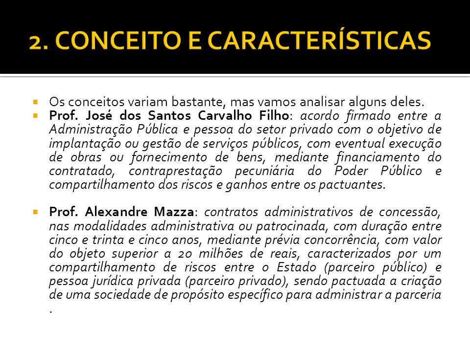 Os conceitos variam bastante, mas vamos analisar alguns deles. Prof. José dos Santos Carvalho Filho: acordo firmado entre a Administração Pública e pe