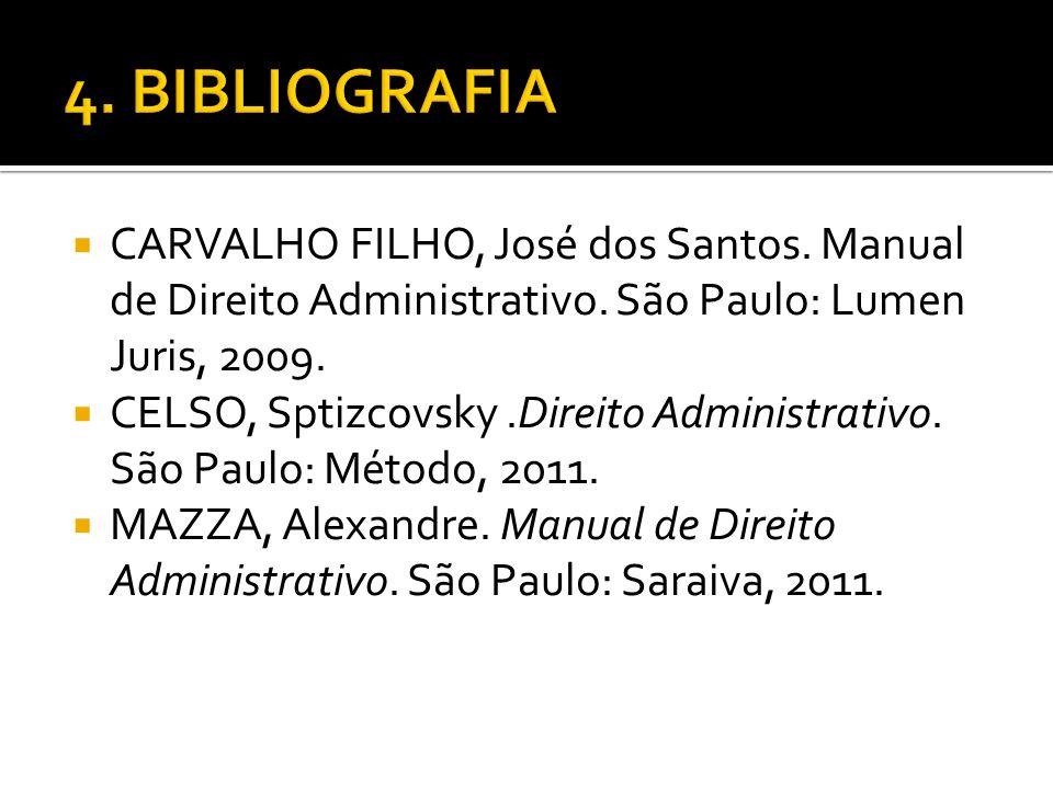 CARVALHO FILHO, José dos Santos. Manual de Direito Administrativo. São Paulo: Lumen Juris, 2009. CELSO, Sptizcovsky.Direito Administrativo. São Paulo: