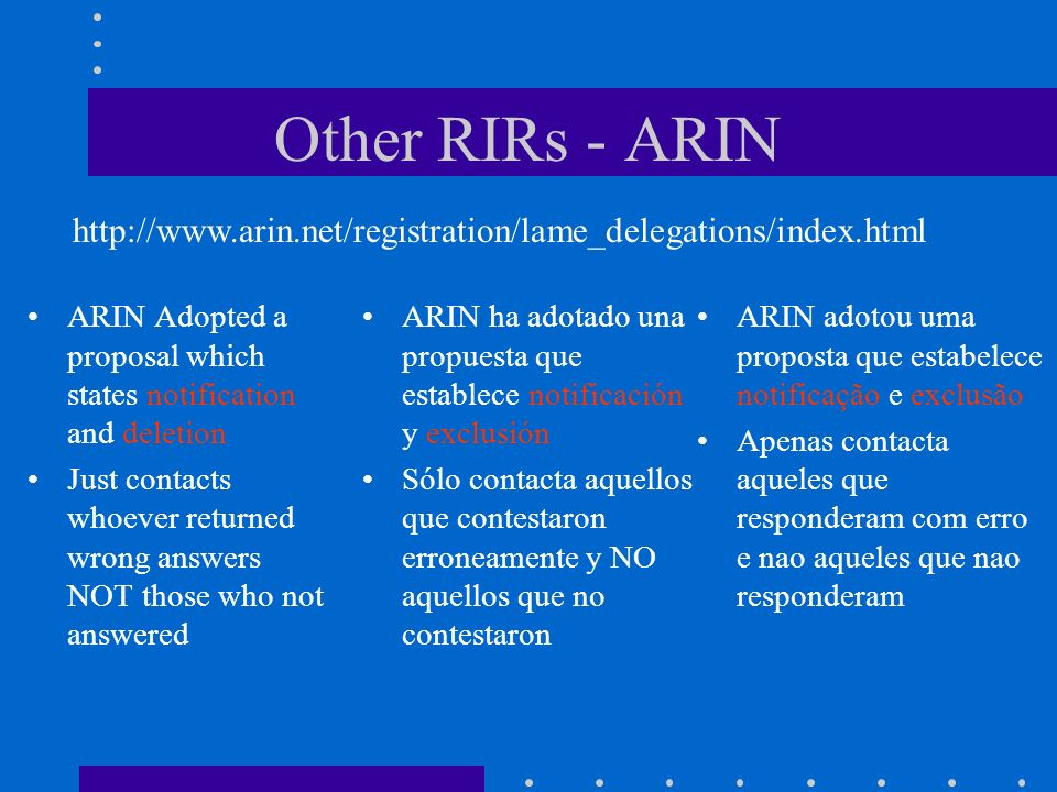 Other RIRs - ARIN ARIN Adopted a proposal which states notification and deletion Just contacts whoever returned wrong answers NOT those who not answer