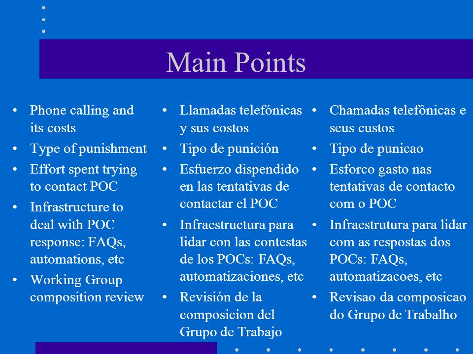 Main Points Phone calling and its costs Type of punishment Effort spent trying to contact POC Infrastructure to deal with POC response: FAQs, automati