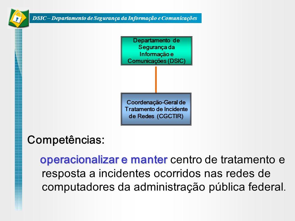 Coordenação-Geral de Tratamento de Incidente de Redes (CGCTIR) Departamento de Segurança da Informação e Comunicações (DSIC) operacionalizar e manter