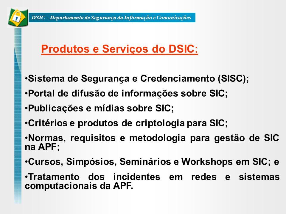 Sistema de Segurança e Credenciamento (SISC); Portal de difusão de informações sobre SIC; Publicações e mídias sobre SIC; Critérios e produtos de crip