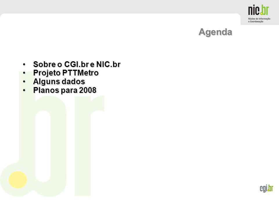 www.cgi.br Agenda Sobre o CGI.br e NIC.brSobre o CGI.br e NIC.br Projeto PTTMetroProjeto PTTMetro Alguns dadosAlguns dados Planos para 2008Planos para
