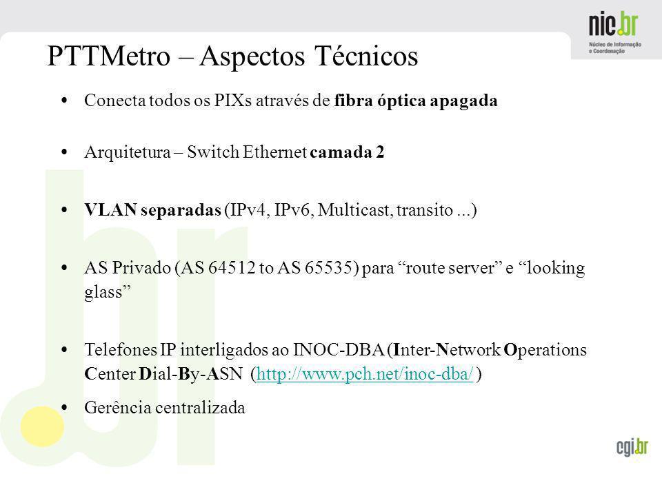 www.cgi.br PTTMetro – Aspectos Técnicos Conecta todos os PIXs através de fibra óptica apagada Arquitetura – Switch Ethernet camada 2 VLAN separadas (I