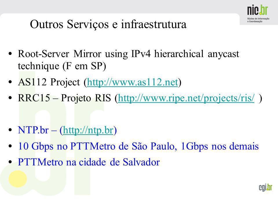 www.cgi.br Outros Serviços e infraestrutura Root-Server Mirror using IPv4 hierarchical anycast technique (F em SP) AS112 Project (http://www.as112.net
